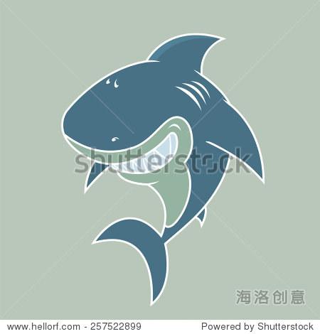 快乐的大白鲨.白色的轮廓矢量图