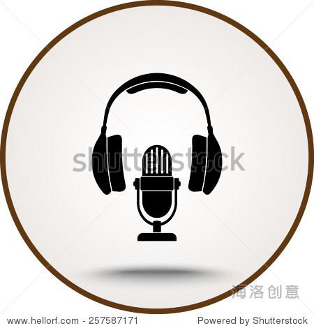 麦克风和耳机图标,标志矢量图.平面设计风格