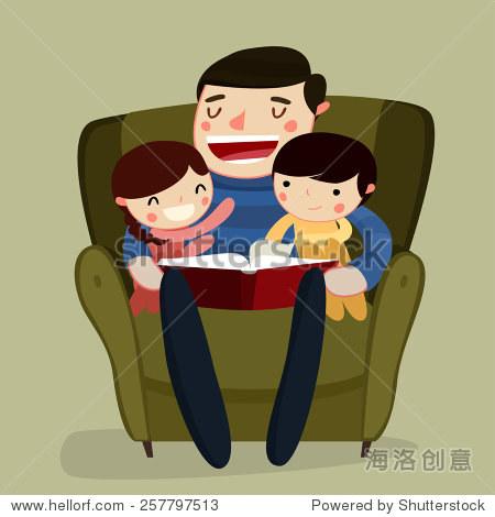 父亲和孩子们阅读.卡通人物.矢量图