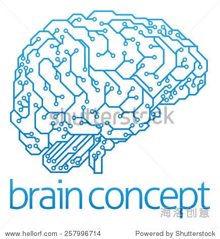 电子电路板的一个抽象说明大脑侧面,ai人工智能的概念
