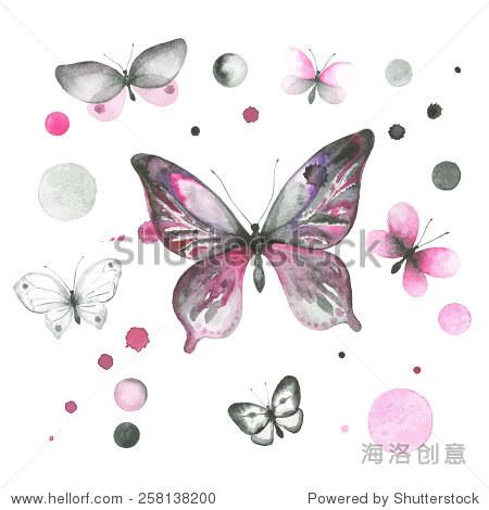 水彩蝴蝶和圈的集合 符号 标志,复古风格 站酷海洛创意正版图片,
