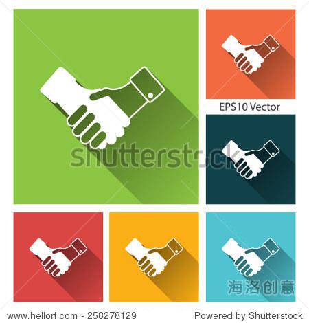 颤抖的手图标设置——平面风格社交网络矢量图标和