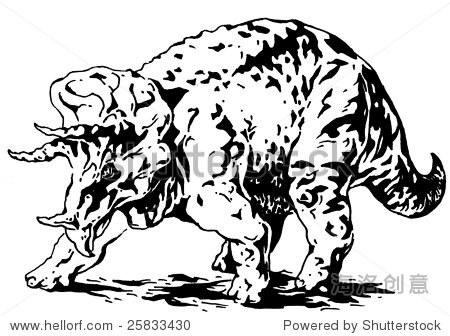 三角龙恐龙-动物/野生生物,插图/剪贴图-海洛创意正版