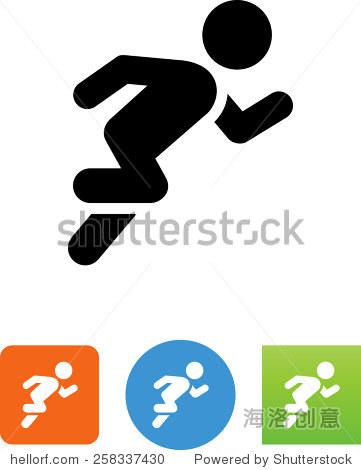跑步者下载的象征.矢量图标为视频,移动应用程序,网站