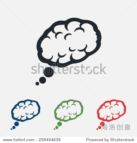大脑图标,矢量图.平面设计风格