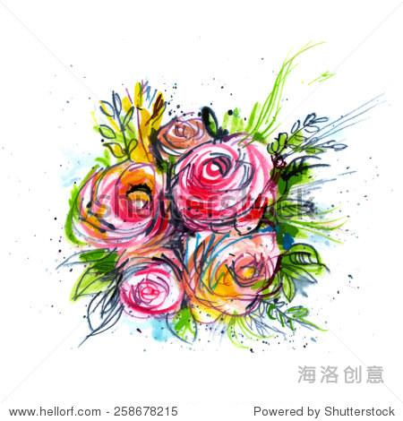 素描色彩斑斓的春天鲜花/毛茛/牡丹/玫瑰花束/海报/水彩画/贺卡/矢量