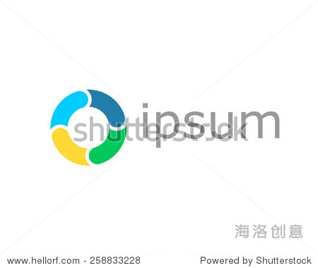 abstract logo design. letter o lifebuoy colorful图片