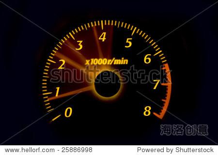 汽车仪表盘仪表照亮夜晚,转速表,速度计