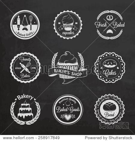 古董面包店徽章,标签和标志.矢量插图设计