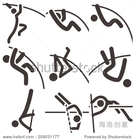 summer sports icons - pole vault icons - 站酷海洛