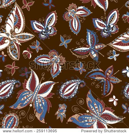 蝴蝶的美丽无缝蜡染图案