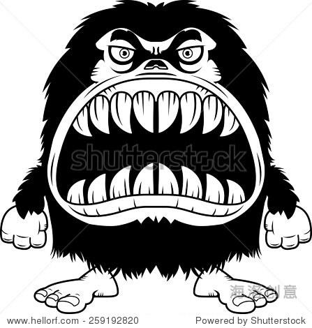 的卡通插图毛茸茸的怪物大嘴巴满的锋利的牙齿.