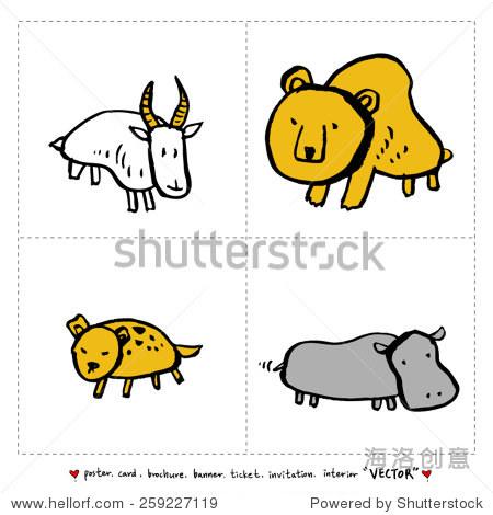 手绘插图动物园-动物素描集向量