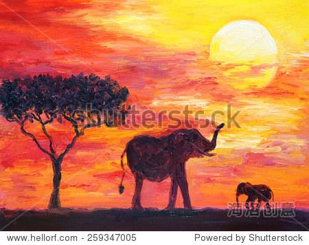 油画——大象,非洲 - 动物/野生生物,艺术 - 站酷海洛