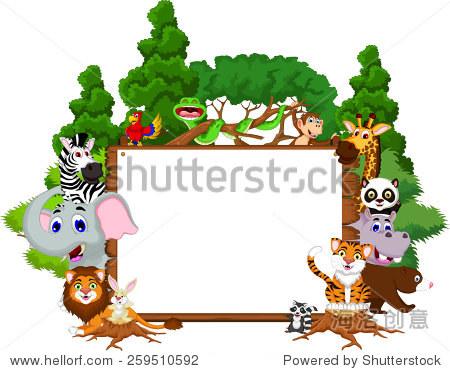 可爱的卡通动物集合与空白板和热带森林背景