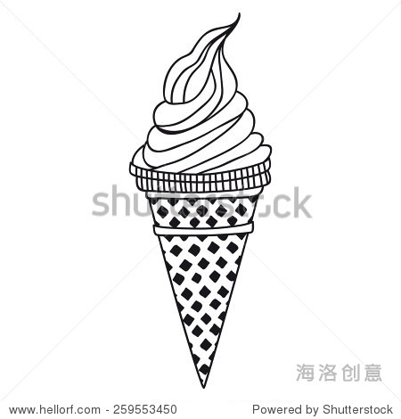 冰淇淋简笔画-Ice cream, sketch, vector illustration
