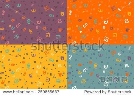 重复模式的手绘涂鸦在紫色,黄色,橙色和蓝色配色