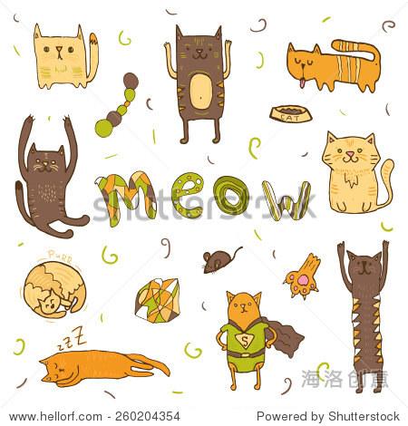 可爱的卡通涂鸦猫.猫叫