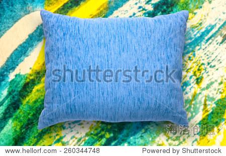 软空白的蓝色枕头水彩背景-背景/素材,物体-海洛创意