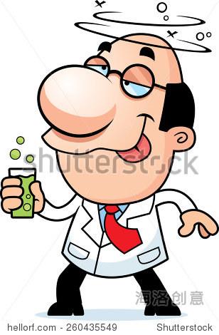 说明卡通科学家喝冒泡的饮料.