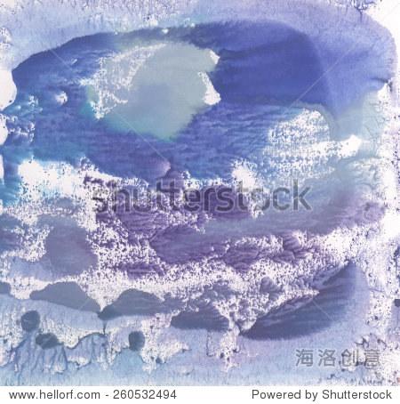 文摘冬季蓝色水彩风景画单型技术,纹理背景对你的设计