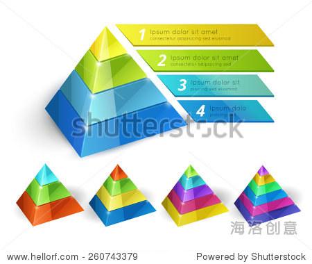 矢量金字塔图等距三维模板选择图表和报告