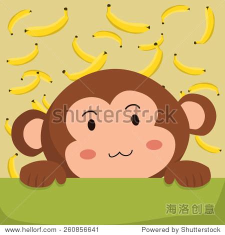 近距离的照片一个可爱的猴子和香蕉的背景