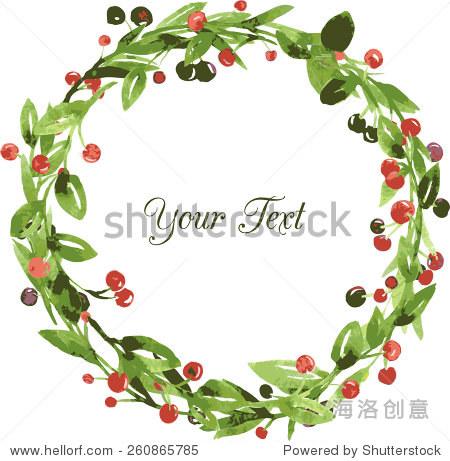 向量水彩花卉框架与绿色树枝,树叶和浆果,手绘向量模板