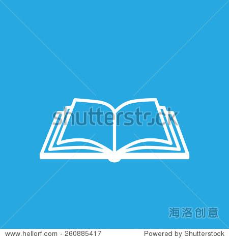 打开书的图标在蓝色的背景上