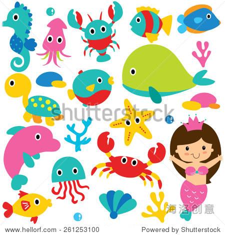 可爱的海洋动物剪贴画集合