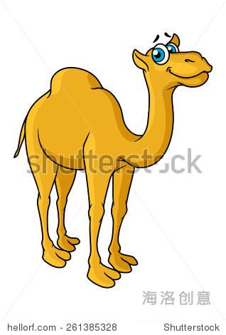 有趣的卡通骆驼动物角色与蓝色的大眼睛和一个快乐的