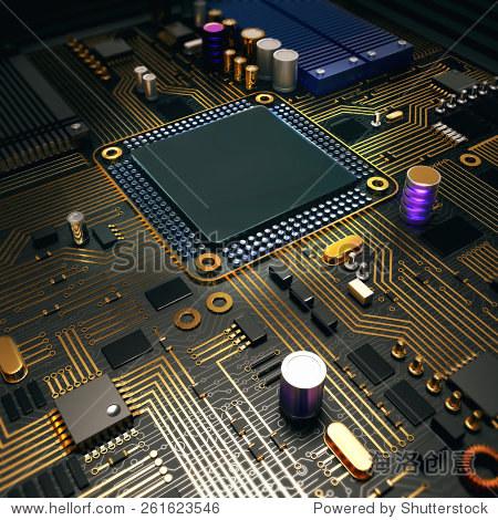 电子电路印刷电路板上芯片.高分辨率. - 商业/金融
