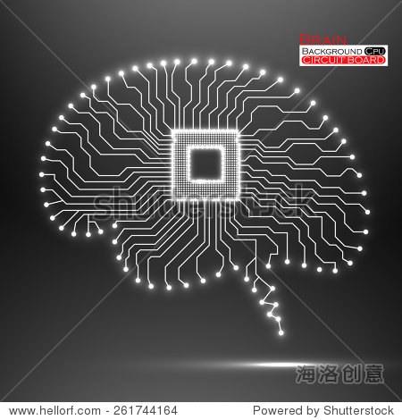 大脑.cpu.电路板.矢量插图.每股收益10