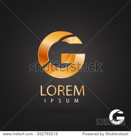 金色的标志设计,字母g.创意金属矢量图标.时尚的商业元素.