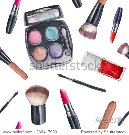 Watercolor cosmetics pattern. Hand painted seamless texture with make up artist objects: lipstick, eye shadows, brushes, nail polish. Vector beauty background