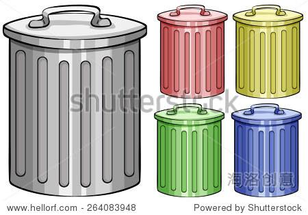 五个不同颜色的垃圾桶