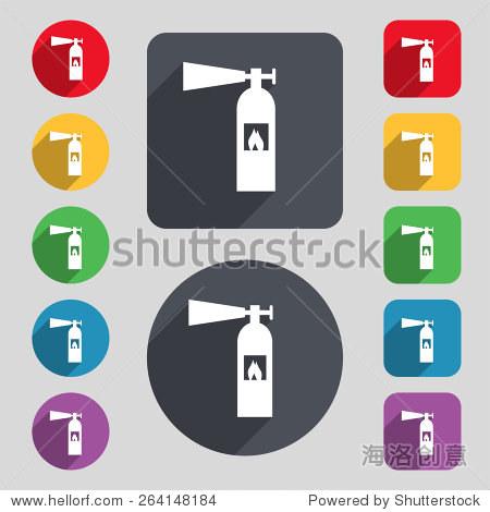 灭火器图标符号 一组12个颜色的按钮和一个长长的阴影 平面设计 向量 物体,符号 标志 海洛创意正版图片,视频,音乐素材交易平台 shutterstock中国独家合作伙伴 站酷旗下品牌