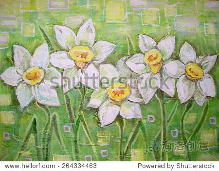 春天白色水仙花美丽的丙烯画背景.春天的花儿或水仙水仙.室内装饰.