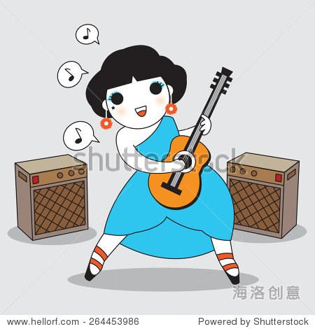 可爱女孩弹吉他插图