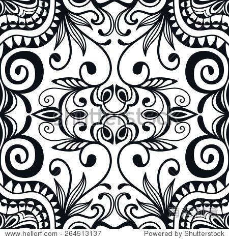 抽象的部落种族背景.黑色和白色无缝的几何图案.