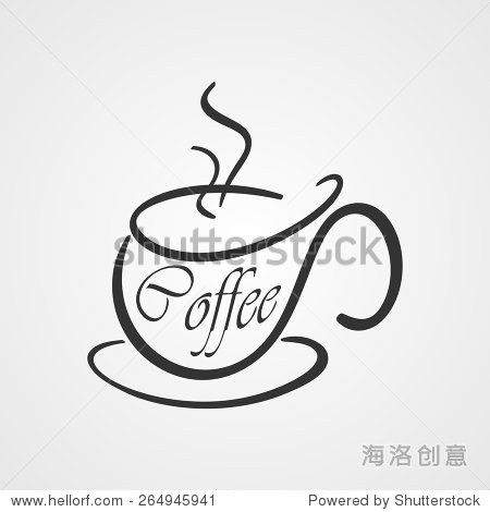 咖啡杯的标志.手绘图标.向量