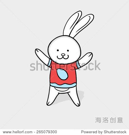 庆祝复活节快乐可爱的微笑的卡通兔子在灰色背景.