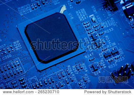 计算机主板靠近蓝色电路板的背景