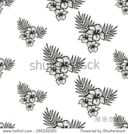 手绘黑白画花朵装饰物品.组孤立