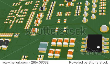 印刷电路板绿色电阻和电容和芯片