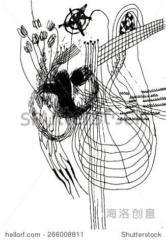 黑白手绘图形模式的矢量插图/背景.跳棋,线,不良,扭曲