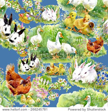 小毛茸茸的可爱的水彩小鸭,小鸡和兔子蛋无缝模式在蓝色背景矢量插图