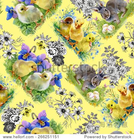 复活节小毛茸茸的可爱水彩小鸭,小鸡和兔子无缝模式在