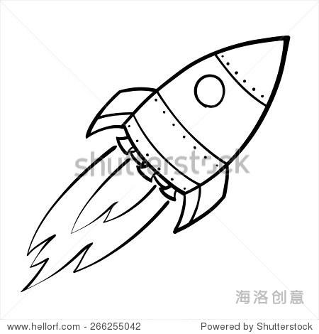 漫画素描的太空火箭飞行