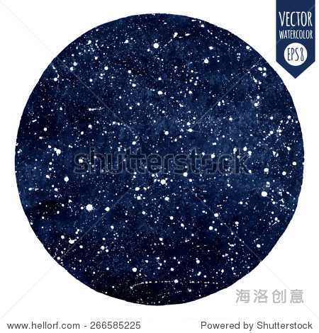 深蓝色的手绘水彩向量夜空的星星.飞溅的纹理.